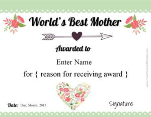 Free Mother'S Day Certificate   Customize Online Then Print with 9 Worlds Best Mom Certificate Templates Free
