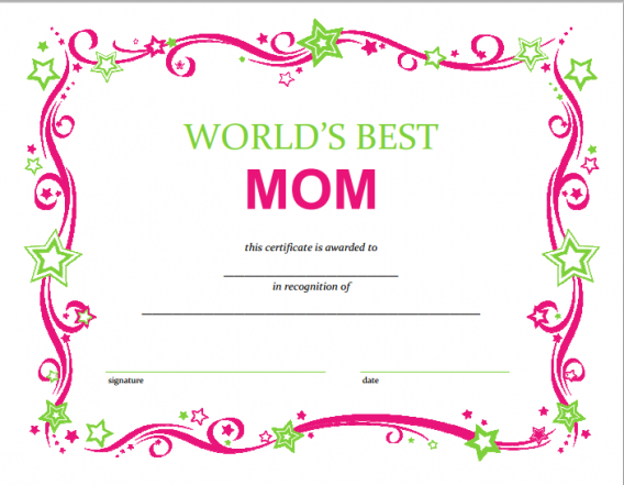 Free Mothers Day Printable Certificate | Mother'S Day Gift intended for Mothers Day Gift Certificate Templates