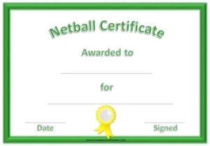 Free Netball Certificates in New Netball Achievement Certificate Template