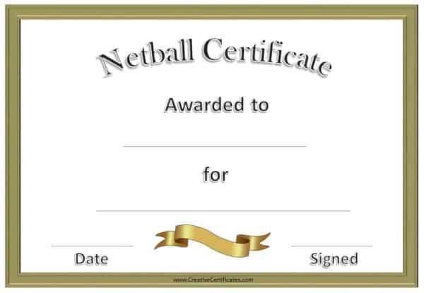 Free Netball Certificates pertaining to New Netball Achievement Certificate Template