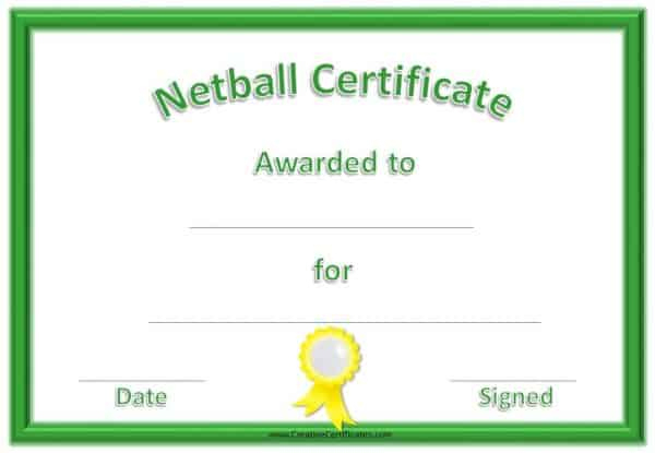 Free Netball Certificates throughout Netball Participation Certificate Templates