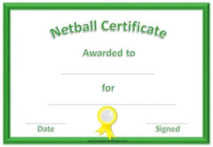 Free Netball Certificates within Netball Participation Certificate Editable Templates