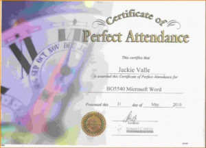 Free Perfect Attendance Certificate Template | Perfect inside Perfect Attendance Certificate Template Free
