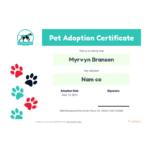 Free Pet Adoption Certificate Template – Pdf Templates   Jotform Inside Pet Adoption Certificate Template