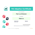Free Pet Adoption Certificate Template – Pdf Templates | Jotform Throughout Quality Dog Adoption Certificate Template
