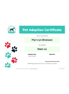 Free Pet Adoption Certificate Template – Pdf Templates | Jotform throughout Quality Dog Adoption Certificate Template