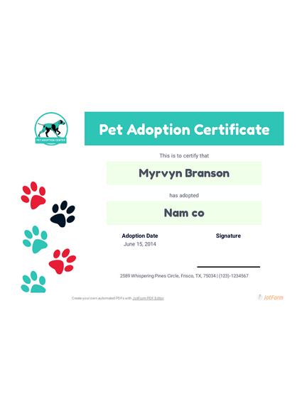Free Pet Adoption Certificate Template - Pdf Templates   Jotform with regard to Cat Adoption Certificate Templates