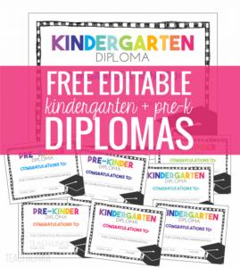 Free Pre K And Kindergarten Graduation Diplomas – Teach Junkie With Regard To Pre Kindergarten Diplomas Templates Printable Free