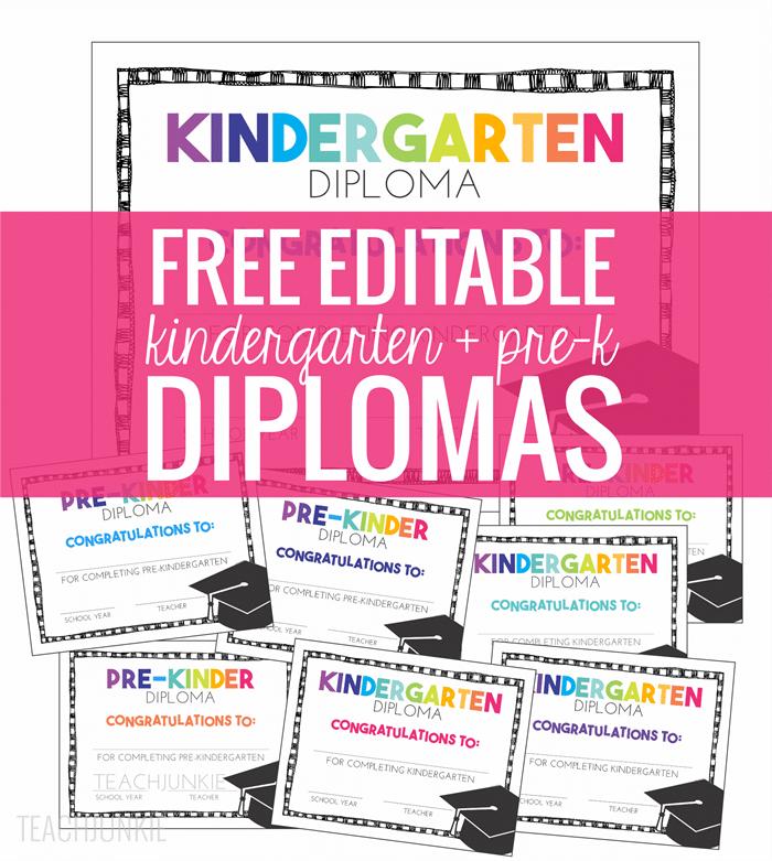 Free Pre-K And Kindergarten Graduation Diplomas - Teach Junkie with regard to Pre Kindergarten Diplomas Templates Printable Free