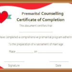 Free Premarital Counseling Certificate Of Completion Inside Quality Marriage Counseling Certificate Template