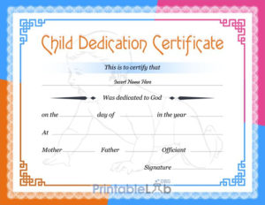 Free Printable Baby Dedication Certificate Format In Dodger in Quality Baby Dedication Certificate Templates