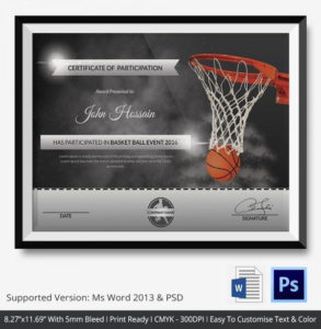 Free Printable Basketball Certificates Best Of Basketball for New Baseball Certificate Template Free 14 Award Designs