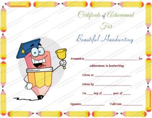 Free Printable Beautiful Handwriting Award Certificate Template regarding Best Handwriting Award Certificate Printable