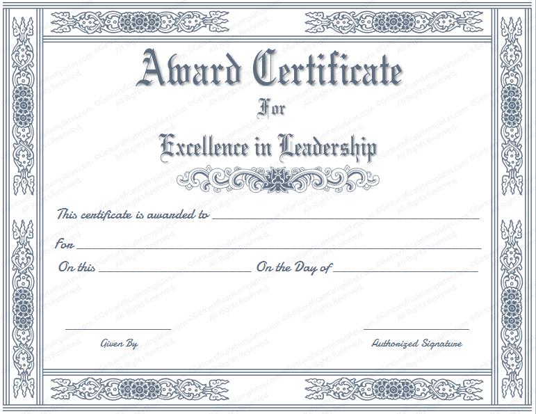 Free Printable Best Leader Award Certificate Template inside Quality Leadership Award Certificate Templates