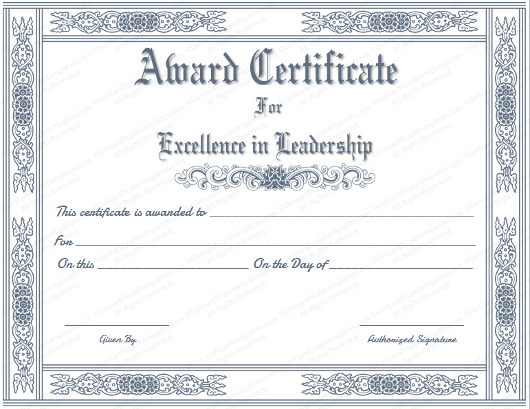 Free Printable Best Leader Award Certificate Template pertaining to Leadership Award Certificate Template