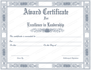 Free Printable Best Leader Award Certificate Template Pertaining To Quality Leadership Certificate Template Designs