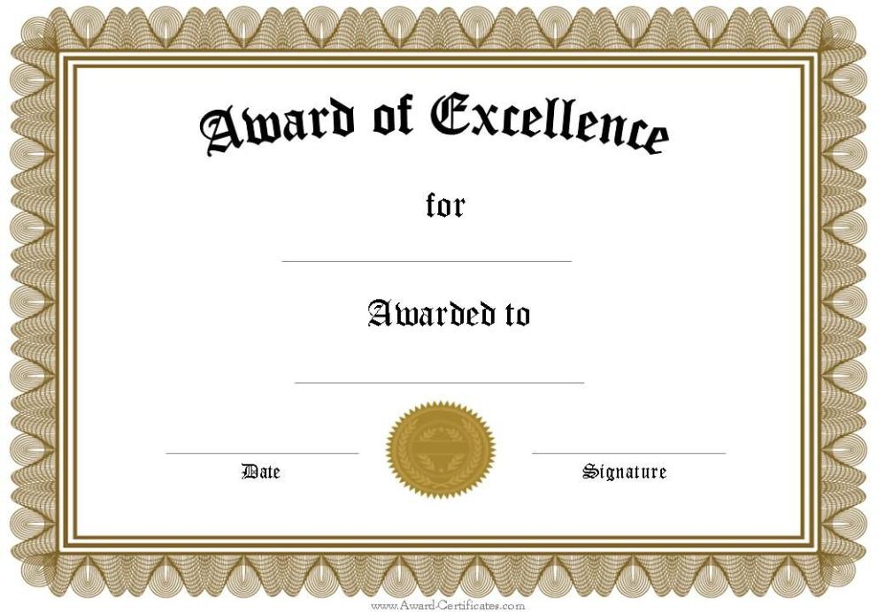 Free Printable Blank Award Certificate Templates (6 throughout Free Funny Certificate Templates For Word