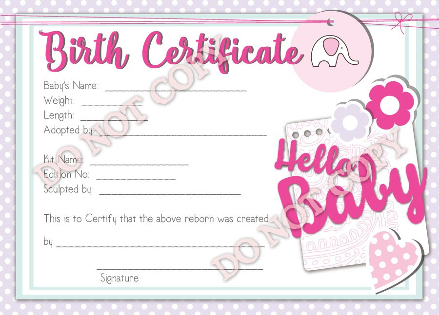 Free Printable Blank Baby Birth Certificates Templates Pertaining To Best Baby Doll Birth Certificate Template