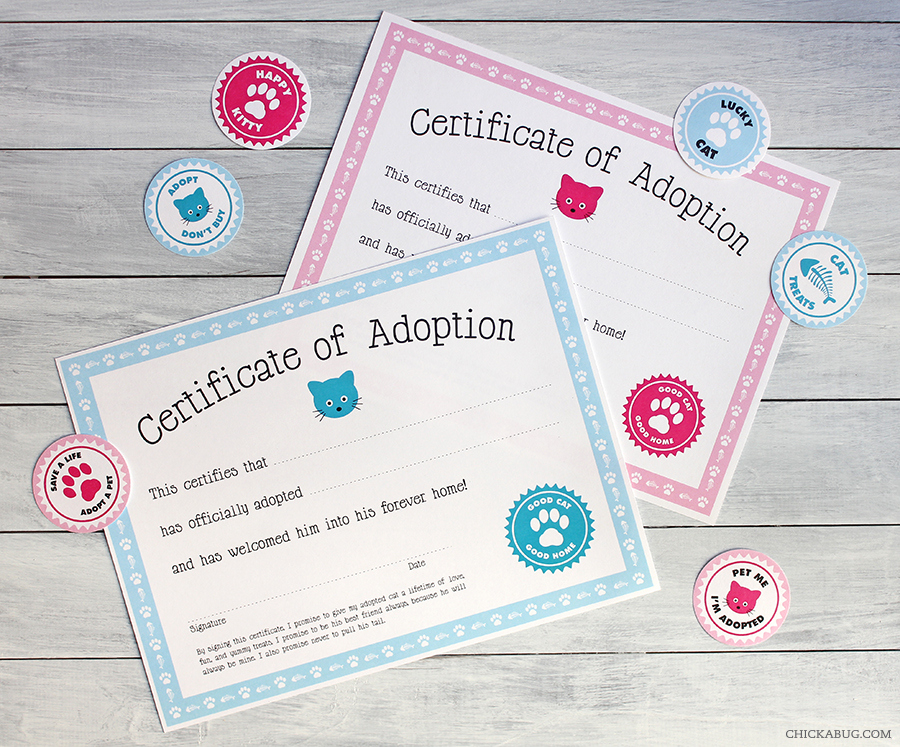 Free Printable Cat Adoption Kits | Chickabug intended for Quality Cat Birth Certificate Free Printable