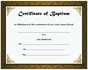 Free Printable Certificate Of Baptism Template Sample with regard to Baptism Certificate Template Download
