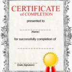 Free Printable Certificate Of Completion Template With Regard To Certificate Of Completion Template Free Printable