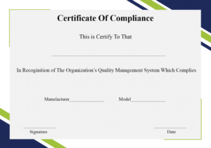 Free Printable Certificate Of Compliance Template pertaining to Certificate Of Compliance Template
