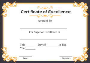Free Printable Certificate Of Excellence Template for Fresh Certificate Of Excellence Template Free Download