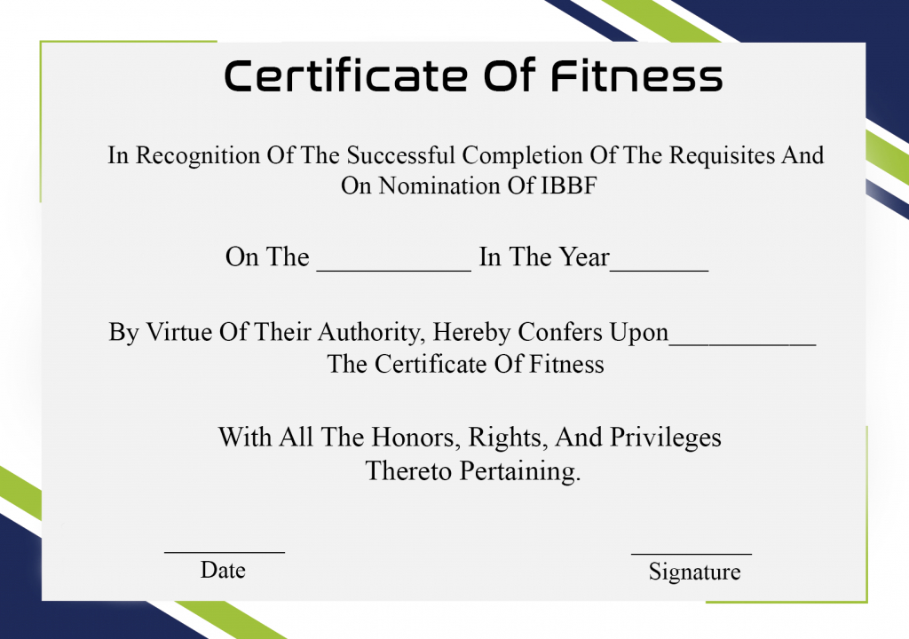 Free Printable Certificate Of Fitness Template | Certificate inside Fresh Physical Fitness Certificate Templates