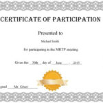 Free Printable Certificate Of Participation Award for Participation Certificate Templates Free Printable