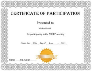 Free Printable Certificate Of Participation Award in Certification Of Participation Free Template