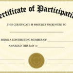 Free Printable Certificate Of Participation   Certificate Of Throughout Certification Of Participation Free Template