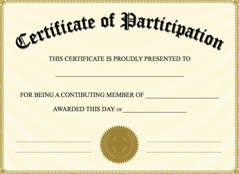 Free Printable Certificate Of Participation | Certificate Of throughout Certification Of Participation Free Template