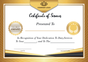 Free Printable Certificate Of Service Template | Certificate within Certificate Of Service Template Free