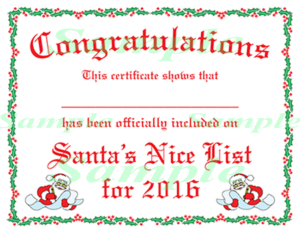 Free Printable Certificates From Santa | Christmas Lettering within Santas Nice List Certificate Template Free