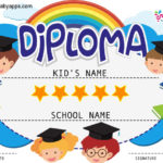 Free Printable Colorful Kids Diploma Certificate Template Throughout Fresh Certificate For Pre K Graduation Template
