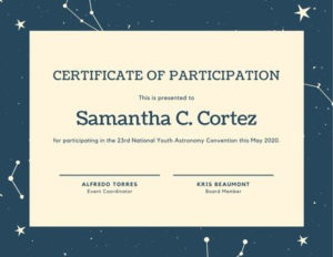 Free, Printable Custom Participation Certificate Templates with Quality Certificate Of Participation Template Pdf