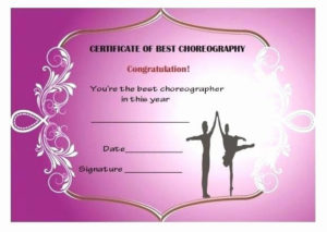 Free Printable Dance Certificates Unique Dance Certificate for Dance Award Certificate Templates