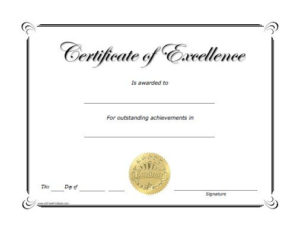 Free Printable Excellence Award Certificate | Certificate Of pertaining to Best Award Of Excellence Certificate Template