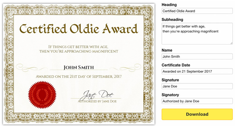 Free Printable Gag Certificates for Free Printable Funny Certificate Templates