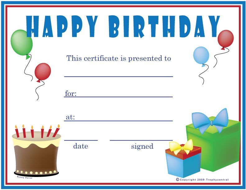 Free Printable Gift Certificate Forms | Free Certificates regarding Birthday Gift Certificate