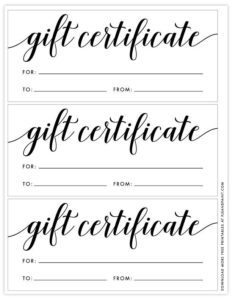 Free Printable Gift Certificate Template In 2020 | Free With throughout Black And White Gift Certificate Template Free