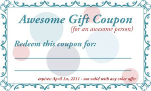 Free Printable Gift Coupon Template   Coupon Template, Free for 7 Babysitting Gift Certificate Template Ideas