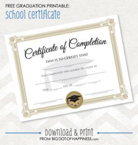 Free Printable Graduation Certificate | Big Dot Of Happiness pertaining to Free Printable Graduation Certificate Templates