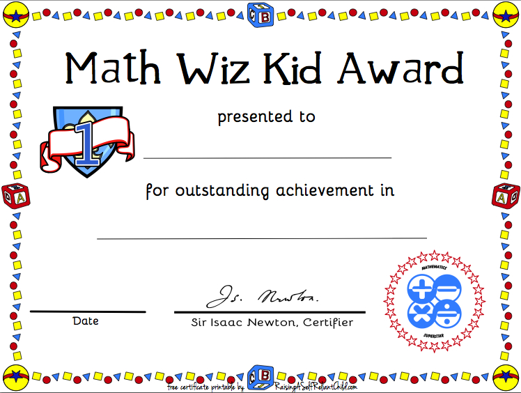 Free Printable Math Certificate Of Achievement | Certificate inside Math Award Certificate Template