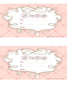 Free Printable Pink Gift Certificate With A Brown Drawing with regard to Pink Gift Certificate Template