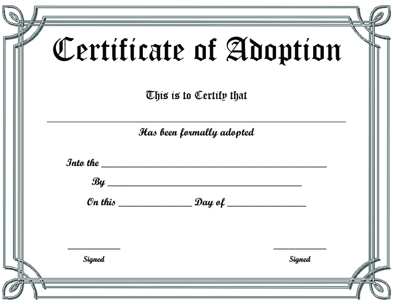Free Printable Sample Certificate Of Adoption Template pertaining to Quality Blank Adoption Certificate Template