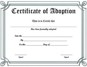 Free Printable Sample Certificate Of Adoption Template throughout Unique Adoption Certificate Template