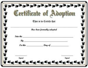 Free Printable Sample Certificate Of Adoption Template within Pet Adoption Certificate Editable Templates