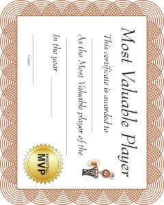 Free Printable Sports Certificate   Mvp Basketball Award with Basketball Mvp Certificate Template