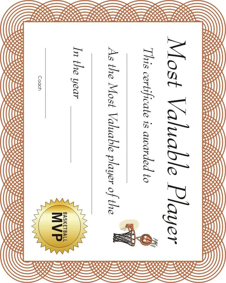 Free Printable Sports Certificate | Mvp Basketball Award with Basketball Mvp Certificate Template